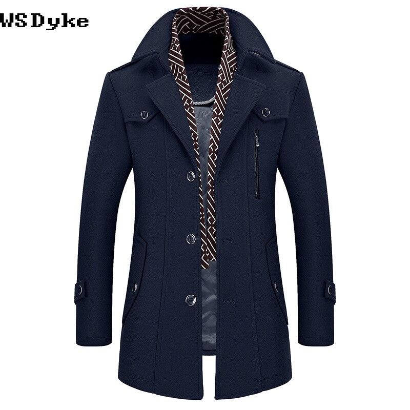 Lungo di Spessore Caldo di Qualità Eccellente Palto Uzun Erkek Turn Imbottiture Collare Con Staccabile Sciarpa di Uomini Cappotto di Lana