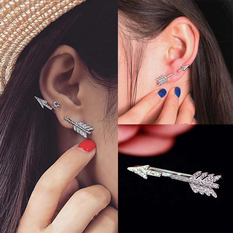 Punk European and American Style <font><b>Unisex</b></font> 1PC Crystal Metal Exaggerat Bow Arrow Axe Shape Stud <font><b>Earrings</b></font> Women Men Fashion Jewelry image