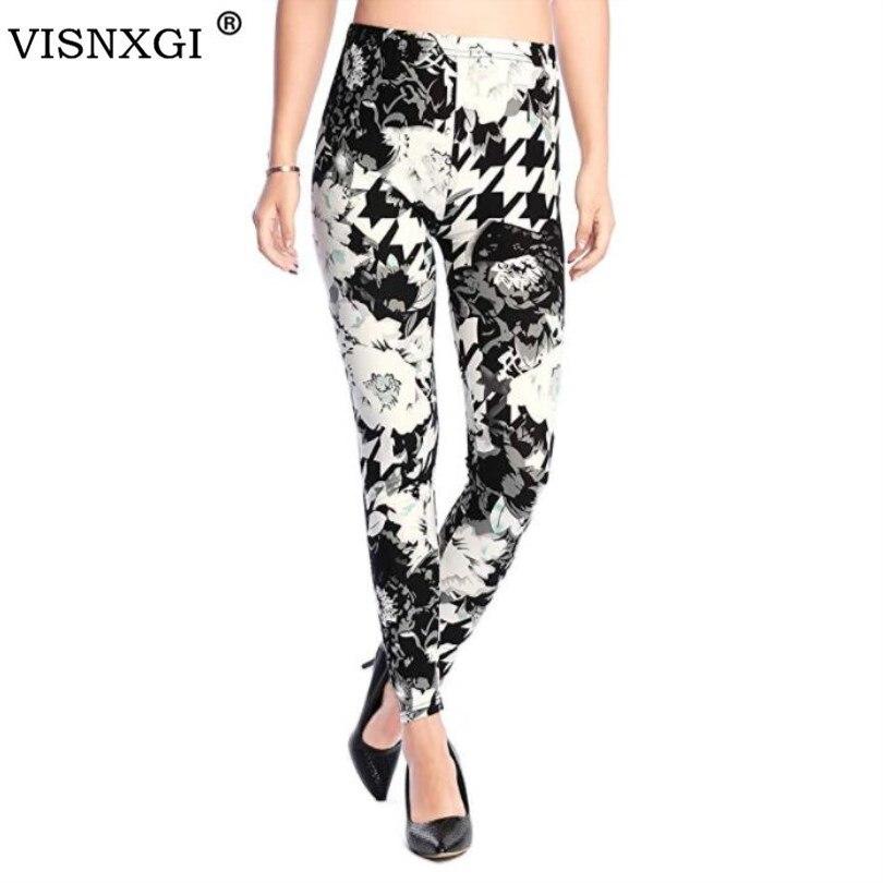 VISNXGI New Fashion Women   Leggings   Printing Fitness   Legging   Sexy Silm High Elasticity Leggins High Waist Stretch Trouser Pants