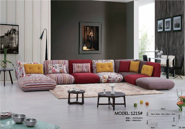 2017 Modern Set Fabric Rushed Armchair Chaise Bean Bag Chair Sectional Sofa Hot Sale Cheap Price