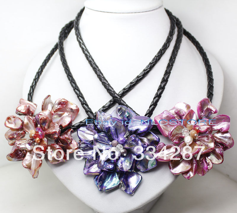 red purple pink mother of pearl shell weave flower pendant necklace
