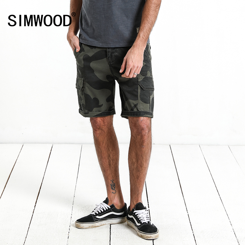 SIMWOOD 2018 Summer camouflage cargo shorts men flap pocket durable casual short male high quality men clothes plus size 180089 charter club new navy blue women s size 14 seamed two pocket cargo shorts $40