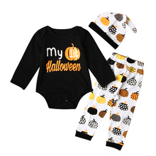 cute newborn baby boys girls clothes black letter pantshat infant 3pcs suit baby clothing my first halloween