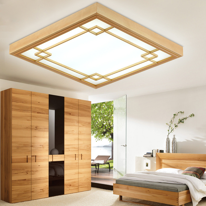 Buy japanese tatami wood led ceiling lamp simple bedroom lamps ultra thin Overhead lighting living room