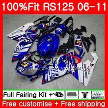 Injeção Para Aprilia RS-125 RS125 06 07 08 09 10 11 azul branco 80SH12 RS4 RSV125 RS 125 2006 2007 2008 2009 2010 2011 Carenagem