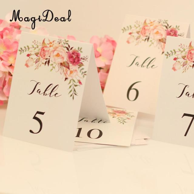 Magideal 1 10 Numbers Place Card Paper Table Markers W Printed Flower Wedding Birthday