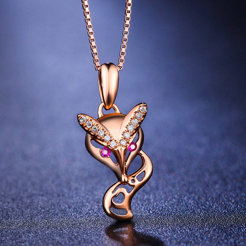 0.02ct/2pcsRuby/CenterStone+0.03ct/12pcs/SideStone Love 18K Gold Diamond Pendant for Women Fashion and Fine Jewelry for Wedding
