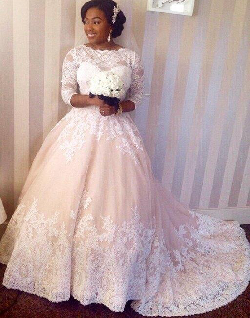 Vestidos de novia lace wedding dresses plus size half for Plus size wedding dresses with color and sleeves
