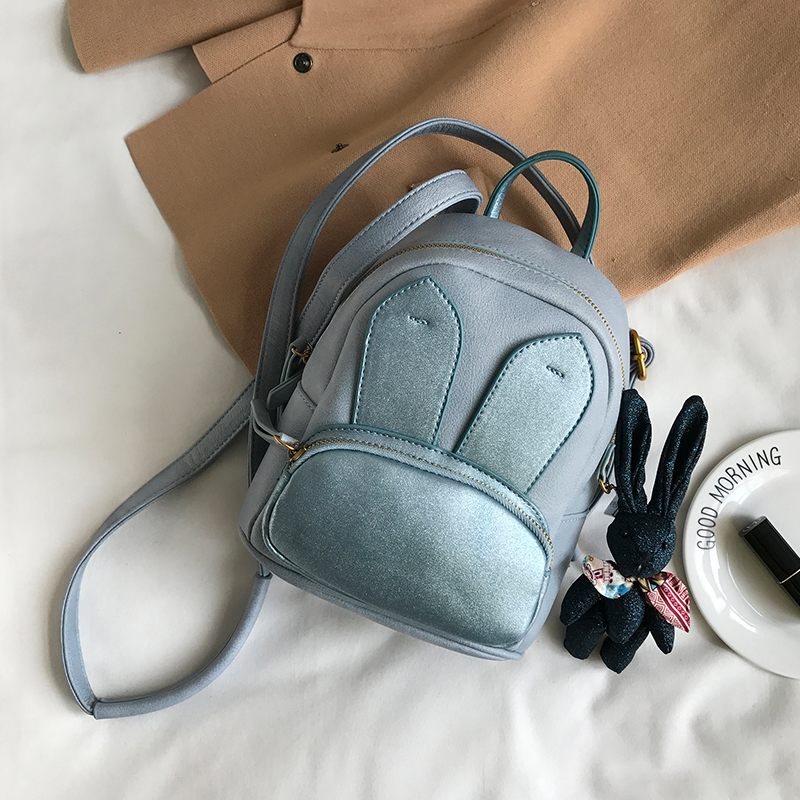 ФОТО Backpack bag small cute rabbit Backpack leather shoulder bag for women black blue pink color 2017 new brand fashion