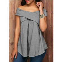 Women Sexy T Shirt Solid Plus Size Ladies Off shoulder Casual t-shirt Loose Oversize Tops Tees Summer Cotton Short Sleeve Tees купить дешево онлайн