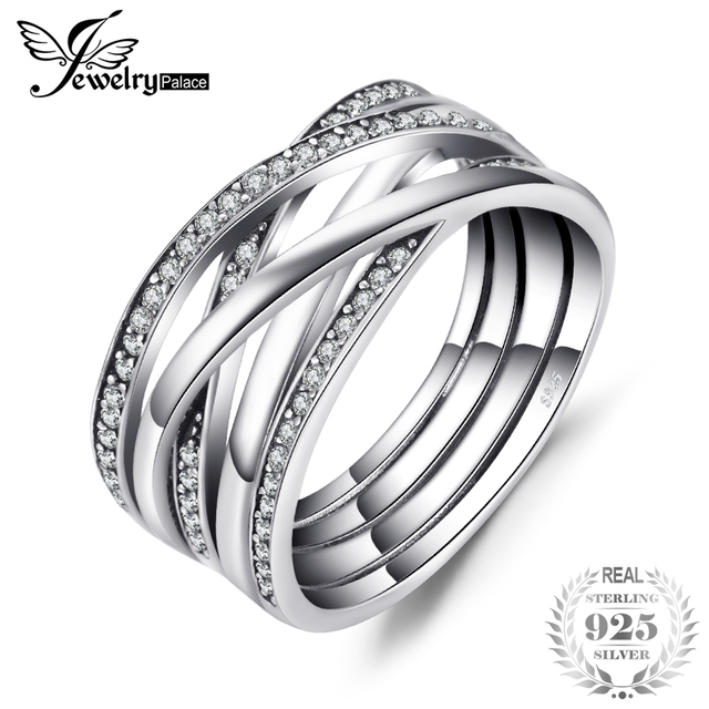 Jewelrypalace 925 Sterling Silver Rings Cosmic Lines Statement Ring Wedding Band