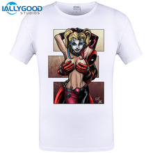 Funny Comic Design Deadpool Is No Joke and Harley Quinn Printing T-shirts Mens Hipster Novelty Short Sleeve Tee Shirt Tops S-6XL