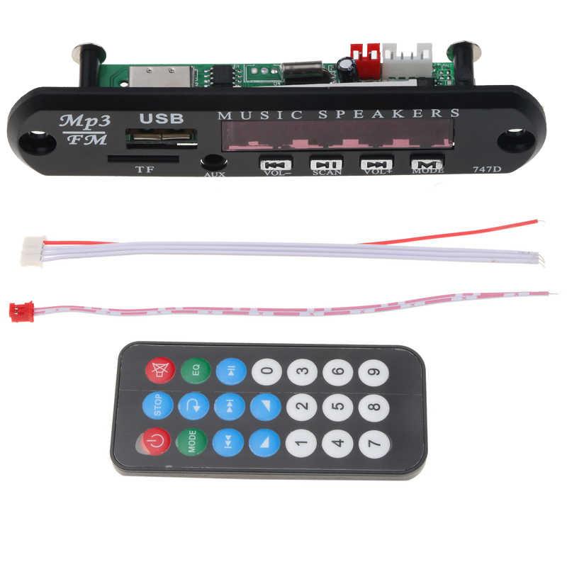 Kebidu 1 шт. 5 в 12 В MP3 декодер плата дистанционного модуля AUX 3,5 мм TF FM радио аудио MP3 плеер USB для автомобиля дистанционного музыкального динамика
