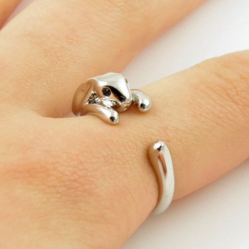Kinitial 1PCS Adjustable Vintage Brass Tiny Bunny Animal Knuckle Ring Shiny Rabbit Rings Bijoux for Women Girls Jewelry Ring 31