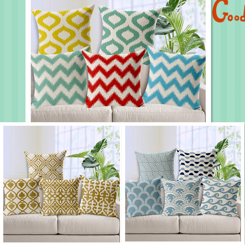 Maiyubo Geometric Cushion Covers Abstract Plaid Pillow Cover Scandinavian Style Throw Pillow Case Home Sofa Colorful Decor PC434