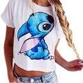 Venta caliente Lilo & Stitch Camiseta de Las Mujeres de Impresión de La Moda de Verano Femininas Camiseta de Manga Corta Crop Top Sexy Femenina Camiseta