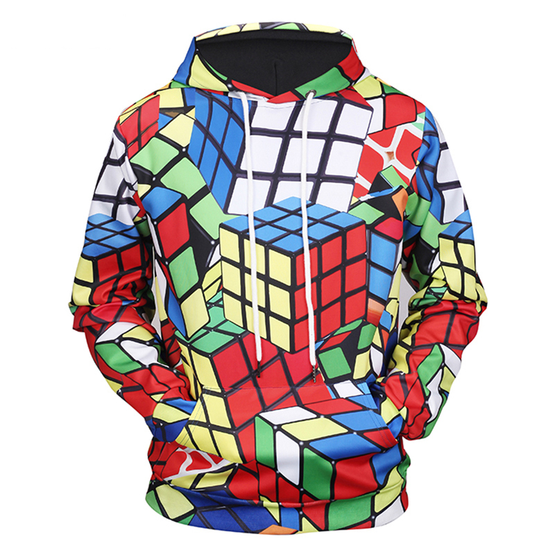 New Casual Las Vegas Styles Rubik Cube Full Printing Couples Pullover Hoody Funny Sweatshirt Men/women 3d Hoodie Can Be Repeatedly Remolded. Men's Clothing