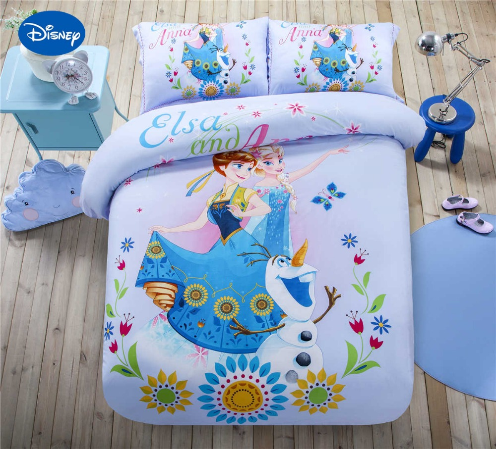 Girls purple bedding - Disney Frozen Elsa And Anna Printed Bedding Set Girls Home Decor Satin Cotton Bed Cover Single Twin Queen King Size Light Purple