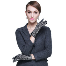 Autumn Winter Woman's Gloves Sheepskin Patchwork Driving Leather Gloves Warm Lined Female Mittens A1051-1 autumn winter woman s gloves sheepskin patchwork driving leather gloves warm lined female mittens a1051 1