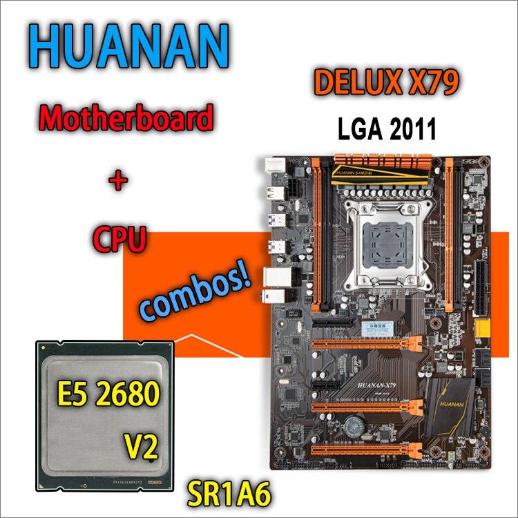 Huanan Золотой делюкс версия X79 игровой материнской платы для Intel LGA 2011 ATX комбинации E5 2680 V2 SR1A6 DDR3 recc памяти max 64 ГБ