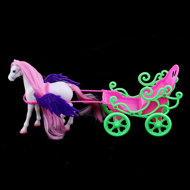 1/6 Princess Doll Playset Horse with Wing Carriage Kids Play House Toy Accessories 1
