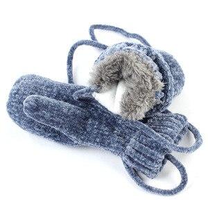 Image 3 - Geebro gorro para bebé de 0 a 3 años, bufanda, guantes de invierno, cálido, chenilla, gorro y bufanda, conjunto para niños y niñas