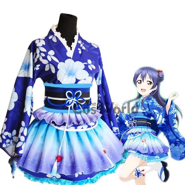 d81b1294ef47 LoveLive! Love Live Sonoda Umi Summer Festival Kimono Yukata bathrobe Fancy  Dress Uniform Outfit Anime Cosplay Costumes