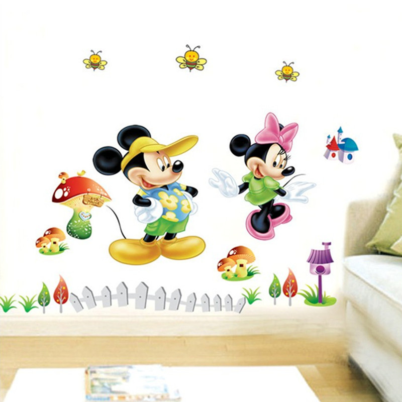 Aliexpress.com : Buy Nursery School Wall Decals Mickey Minnie Mouse Happy  Farm 3d Pvc Stickers For Kids Rooms Decoration Cartoon Mural Free Shipping  From ...