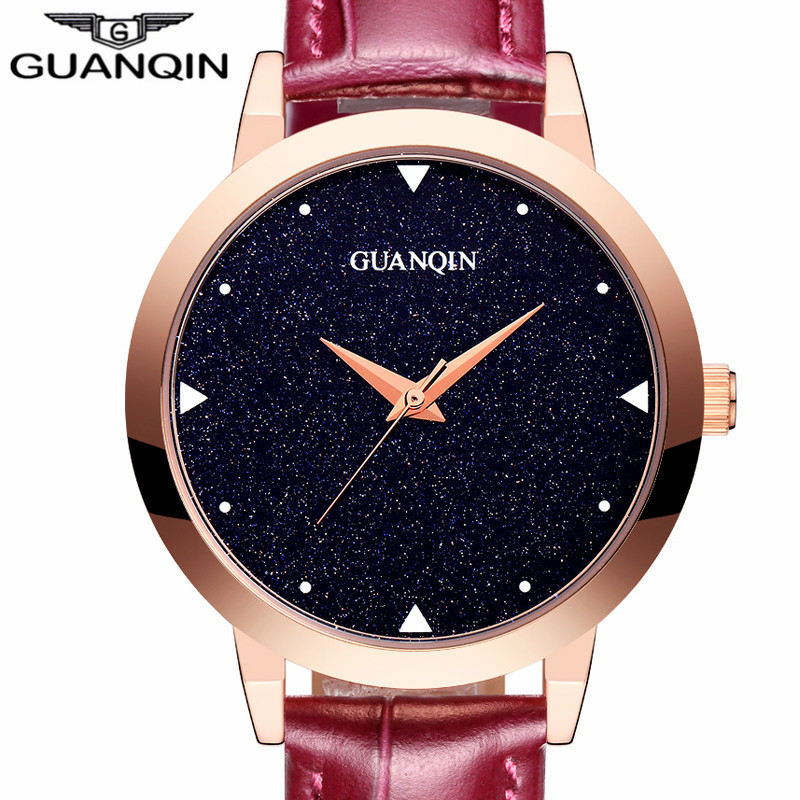relogio feminino New GUANQIN Watch Women Dress Starry Sky Design Simple Quartz Watch Ladies Fashion Casual Leather Wristwatch стоимость