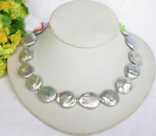 Collier de perles FW gris 23mm
