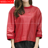 SHILO GO New Fashion Women Loose O Neck Red Front Pocket Bat Sleeve Sheepskin Genuine Leather Short Blouse Ladies Casual Blouse