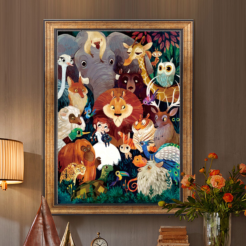 Needlework,DMC DIY Cross Stitch,Full Embroidery Kit,world Of Animal Lion Bird Owl Printed Pattern Cross-Stitch Handwork Painting