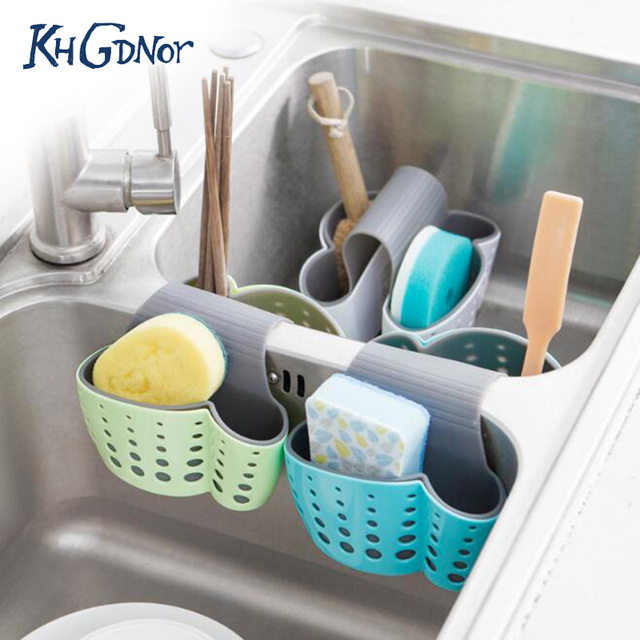 Khgdnor Kitchen Storage Rack Soap Sponge Brush Holder Basket Saddle Type Sink Water Strainer Organizer Drainer