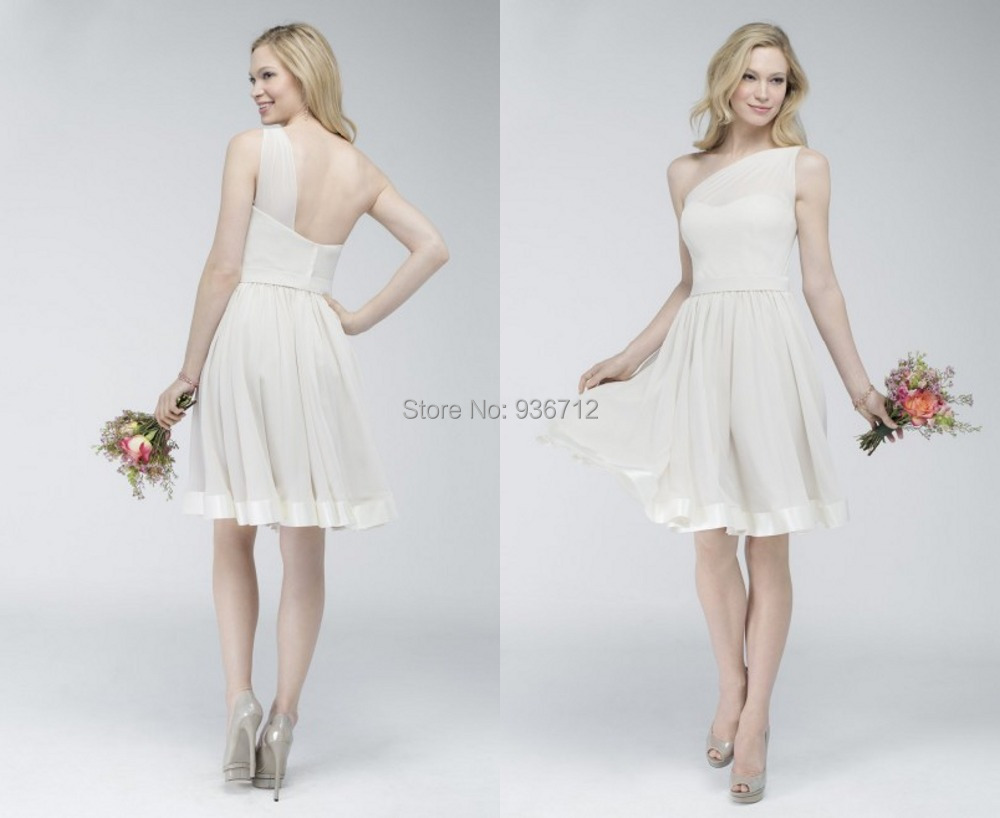 One Shoulder A Line Short White Simple Chiffon Mother Of