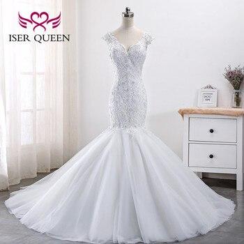 Pure White Lace Beading Mermaid Wedding Dresses Africa New Design Plus Size Wedding Dress  New Wedding Gown WX0004