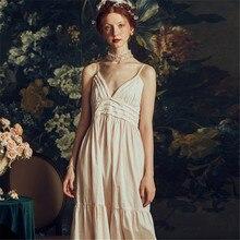 2019 New Palace Nightdress Female Summer Sexy Sling Pure Cotton Nightgowns Princess Wind Woman Sleepwear Homewear HS3016