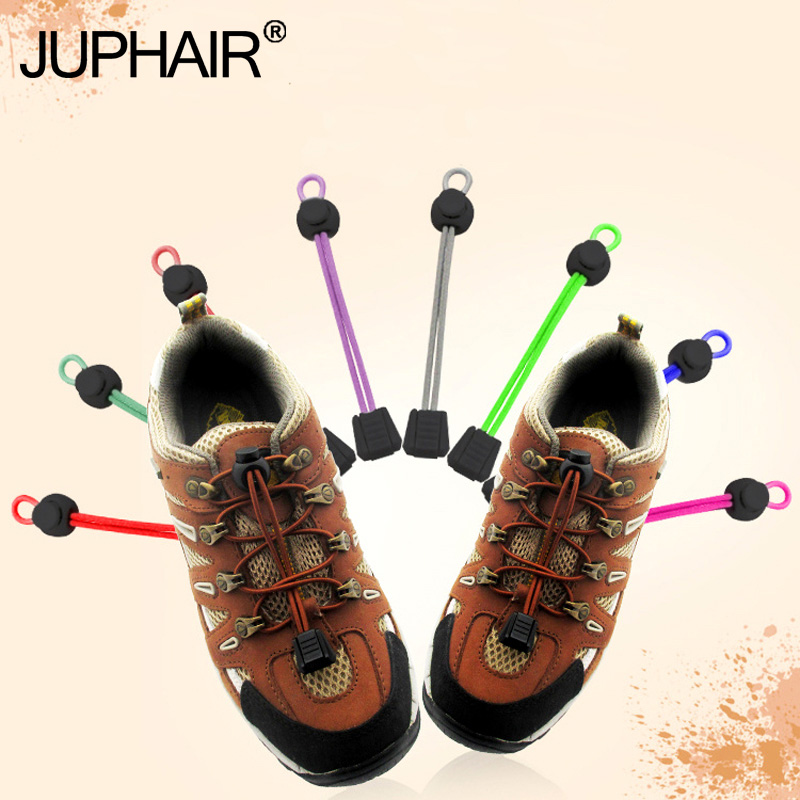 JUP 1 Pair New  No Tie Locking Shoelaces Trainer Sports Fitness Athletic Sneaks Shoe Laces Multicolor Laces Black Buckle Elastic