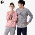Spring Autumn Fashion Pyjama Femme O-neck Nightwear Female Pajama Sets For Women Men Knitted Cotton Pijamas Suit Couple Lounge