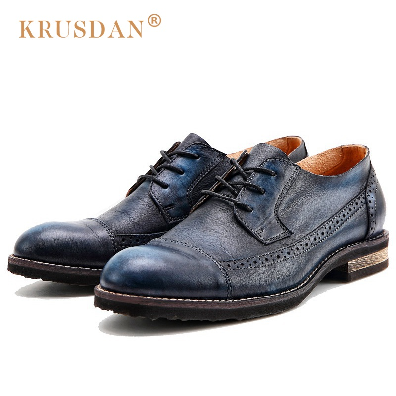 KRUSDAN British Style Vintage Man Brogue Shoes Genuine Leather Handmade Oxfords Round Toe Derby Formal Dress Men's Flats NK63  ruimosi new arrival formal man bridal dress flats shoes genuine leather male oxfords brand round toe derby men s footwear vk94