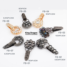 2019 New Arrival Rhinestone Buckle For Mink Or Fur Coat Metal Decorative Buckles 1Set/Lot Black Gold Color KD539