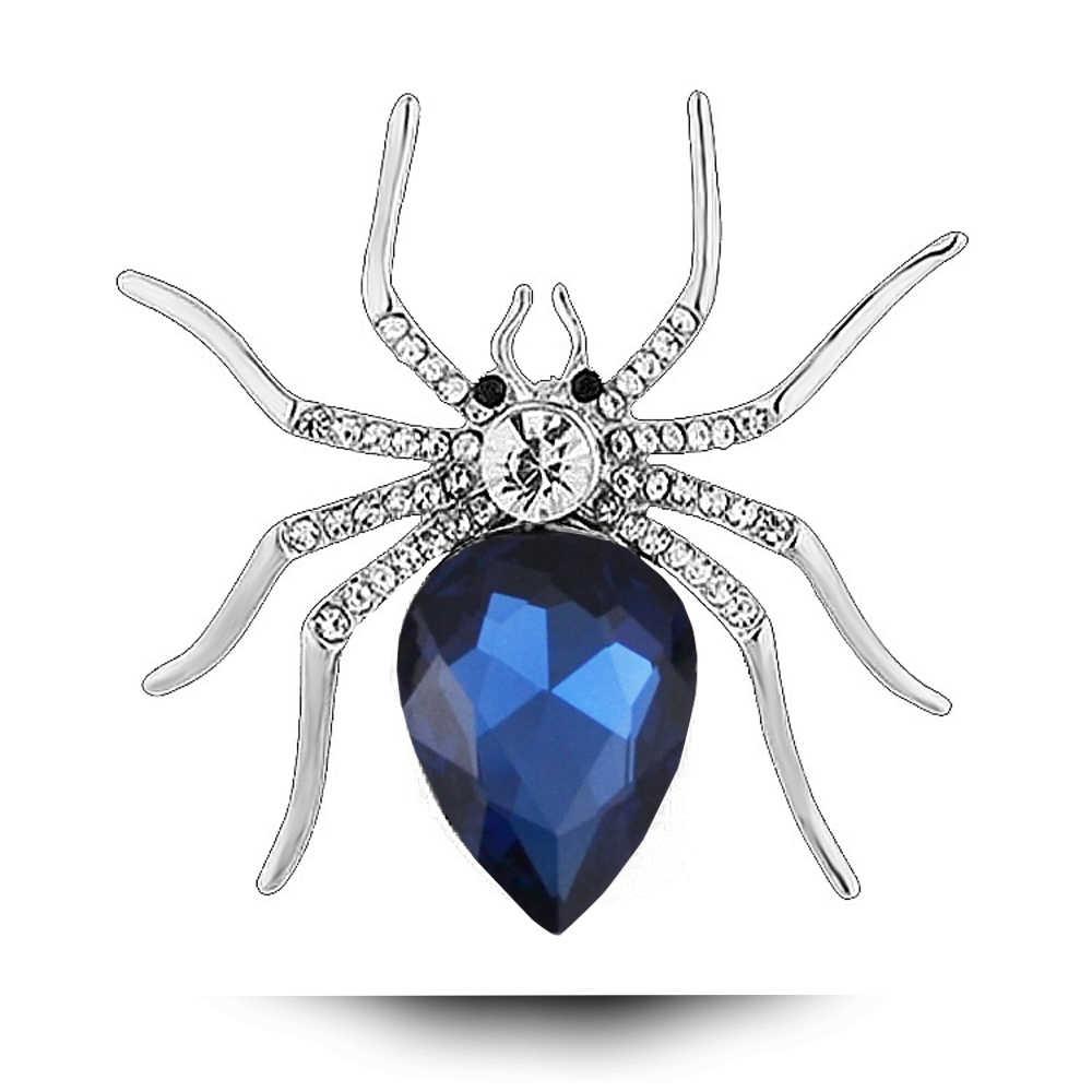 2017 Spider Bros untuk Wanita Pria Mode Kepribadian Kristal Selendang Gesper Perempuan Mutiara Bros Hewan Pin Emas Warna Tubuh Perhiasan