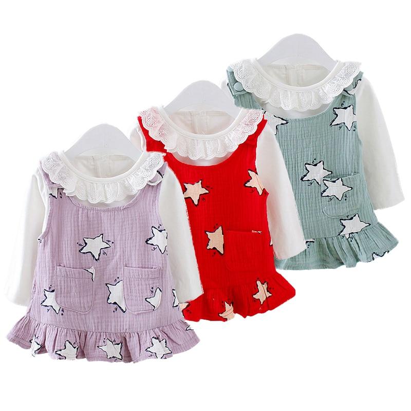 2018 New Girls Straps Suit Autumn Children Korean Style Dress Suit White Lace collar T-shirt Pentagram braces 2PCs