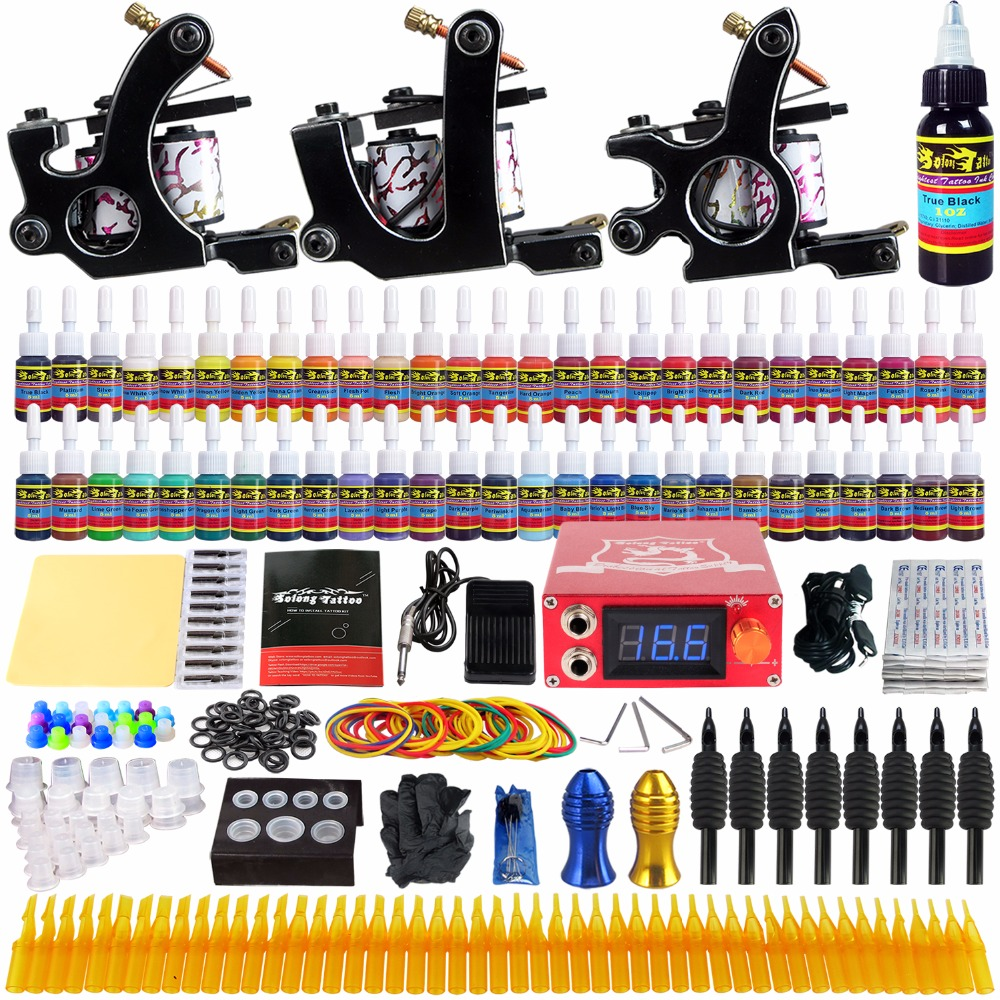 Solong Tattoo complete professional 3 tattoo Machine Guns set Tattoo Kit 54 Inks Power Supply Needle Grips power supply TK352 europe god of darkness robert recommend gp self lock grips gp3 professional tattoo artist grip