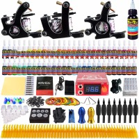 Solong Tattoo Complete Professional 3 Tattoo Machine Guns Set Tattoo Kit 54 Inks Power Supply Needle Grips Power Supply TK352