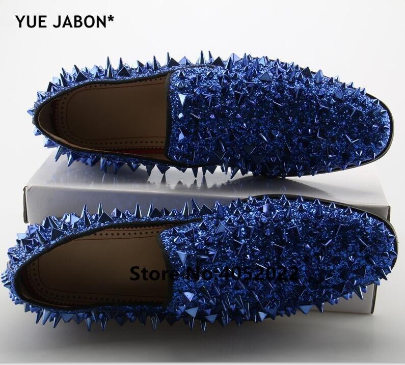 YUE Jabon luxe Designer chaussures hommes décontracté appartements rouge noir or argent cuir chaussures de mariage Rivet clouté à pointes mocassins hommes - 4