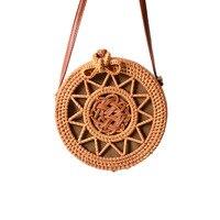 Summer Vintage Women Rattan Round Straw Bags INS Popular Female Weave Handbag Hollow Ladies Handmade Braided Shoulder Bag SS3380
