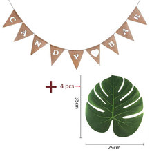 цена 4 Artificial Tropical Palm+Candy Bar Heart Print Banner Hessian Pennant Burlap Banner Flags for Party Home garden Decoration онлайн в 2017 году