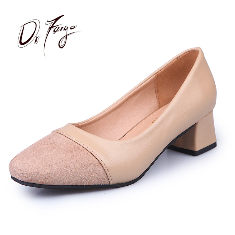 ФОТО DRFARGO 4.5cm Square Heel Office Ladies Shoes Faux Suede Pointed Toe PU Women's Shoes