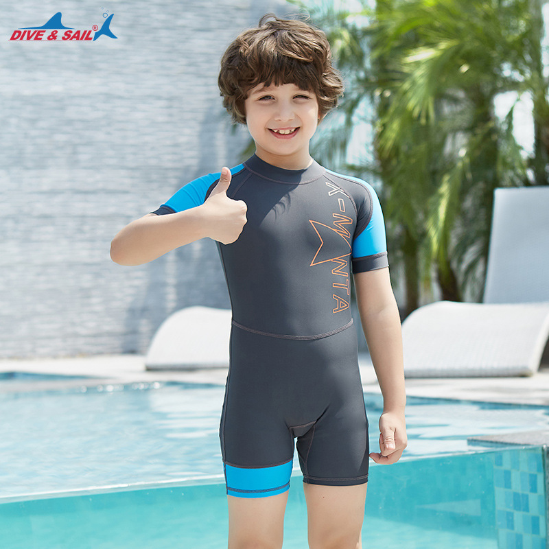 10825c91b9f55 Lycra Shorty Wetsuit Kids One Piece Swimwear for Boys Girls Diving Bathing  Suit Children UPF50+ Sunscreen Surfing Rash Guard L