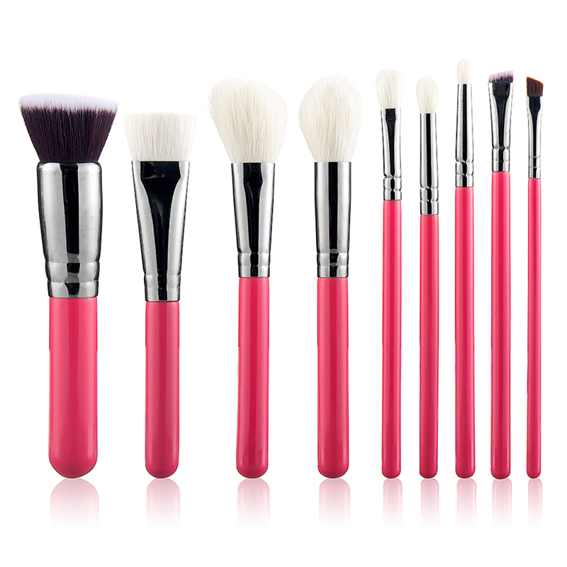 9 Pcs High grade goat hair makeup brushes Cosmetic Kit rose silver Eyebrow Blush Foundation Powder Make up Brush Set 7pcs makeup brushes professional fashion mermaid makeup brush synthetic hair eyebrow eyeliner blush cosmetic